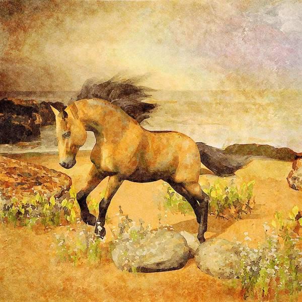 Digital Art - Horse On Beach by Judi Suni Hall