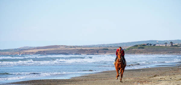 Photograph - Horse Riding On Ayia Erini Beach 1 by Iordanis Pallikaras