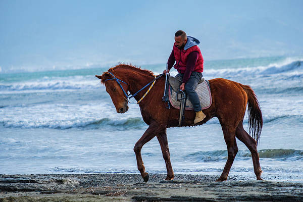 Photograph - Horse Riding On Ayia Erini Beach Yet Again by Iordanis Pallikaras