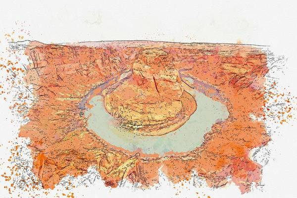 Wall Art - Painting - Horse Shoe Watercolor By Ahmet Asar by Celestial Images
