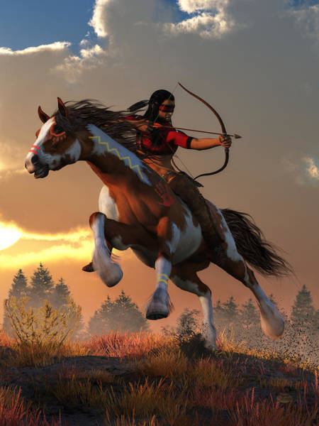 Digital Art - Horseback Archer At Dawn  by Daniel Eskridge