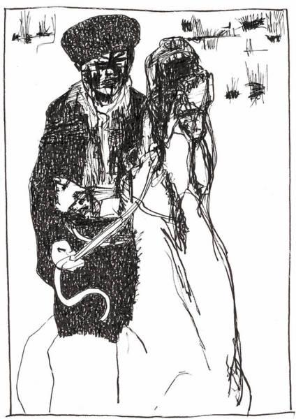 Drawing - Horseman On Horseback by Artist Dot