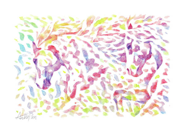 Bugling Drawing - horse,mare,pony,stallion,stud,run-Watercolor,Colourful,Dazzling,ImpressionismHandmade,Hand-painted by Artto Pan
