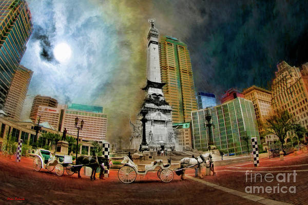 Photograph - Horses And Buggies And Soldiers And Sailors Monument, Indianapolis by Blake Richards