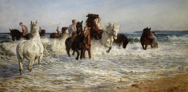 The Horseshoe Wall Art - Painting - Horses Bathing In The Sea by Lucy Kemp-Welch
