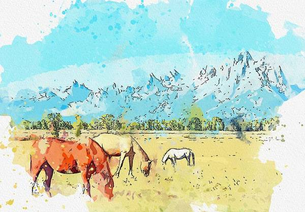 Wall Art - Painting - Horses Grazing In The Shadow Of The Mountains In Grand Teton National Park, Wyoming   Watercolor By by Celestial Images