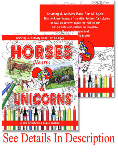 Mixed Media - Horses Hearts And Unicorns Activity Coloring Book  by Irina Sztukowski