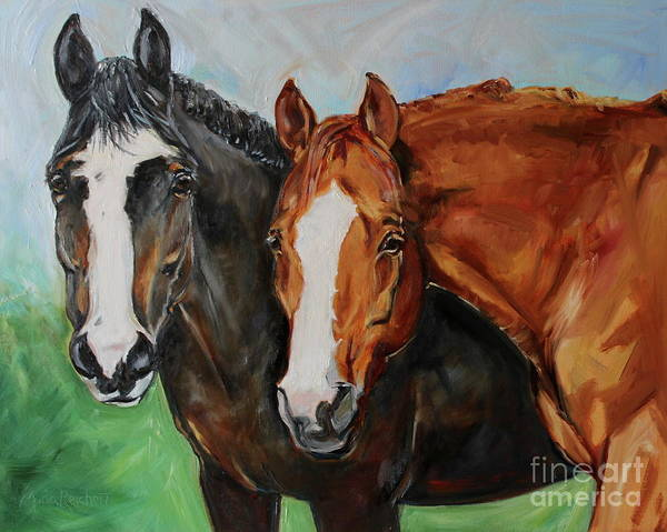 Aqha Painting - Horses In Oil Paint by Maria's Watercolor