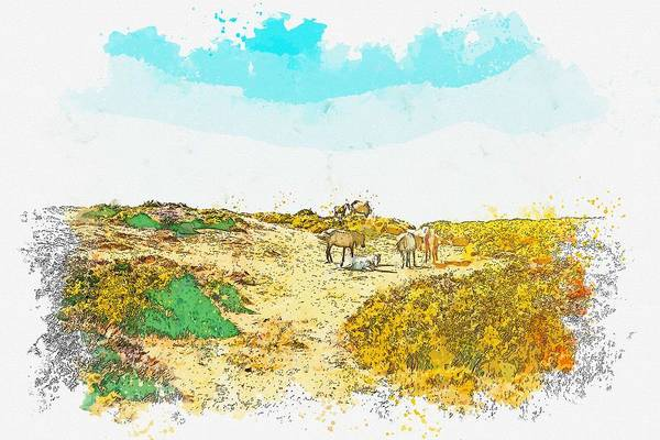 Wall Art - Painting - Horses On The Hill Watercolor By Ahmet Asar by Ahmet Asar