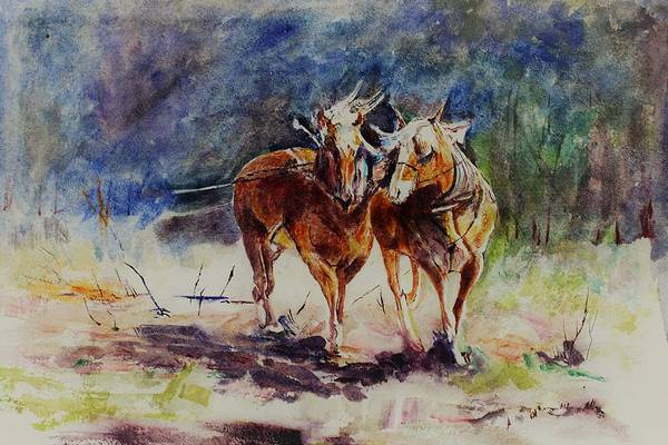 Wall Art - Painting - Horses On Work by Khalid Saeed