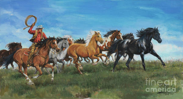 Herd Of Horses Wall Art - Painting - Chasung Wild Mustangs by Don Langeneckert