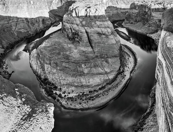 Photograph - Horseshoe Bend And Colorado River Monochrome Landscape by Gregory Ballos