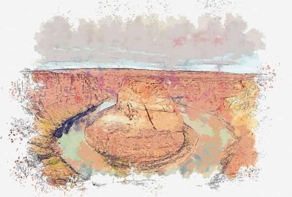 Wall Art - Painting - Horseshoe Bend - Arizona, United States-1 Watercolor By Ahmet Asar by Ahmet Asar
