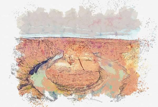 Wall Art - Painting - Horseshoe Bend - Arizona, United States Watercolor By Ahmet Asar by Ahmet Asar