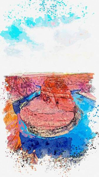 Wall Art - Painting - Horseshoe Bend, Page, United States   Watercolor By Adam Asar by Celestial Images