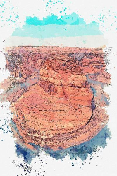 Wall Art - Painting - Horseshoe Bend, United States Watercolor By Ahmet Asar by Ahmet Asar