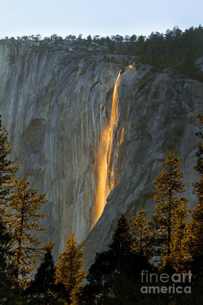 Horsetail Falls In Yosemite Illuminated Art Print by Peggy Sells