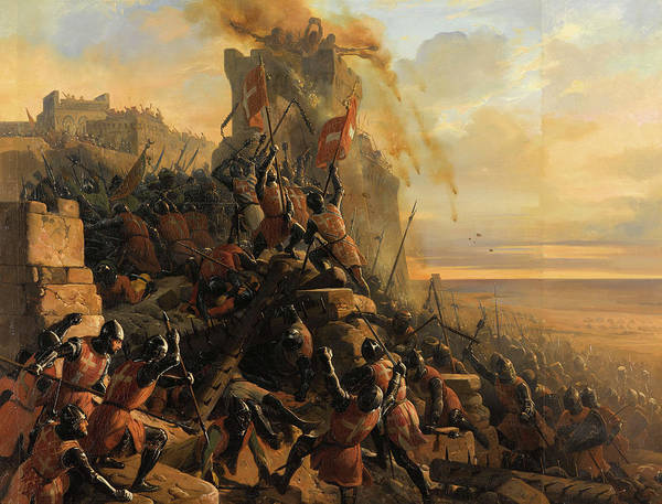 Wall Art - Painting - Hospitaller Conquest Of Rhodes, 1310 by Eloi Firmin Feron
