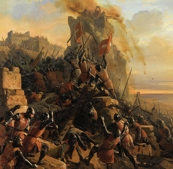 Wall Art - Painting - Hospitaller Conquest Of Rhodes by Eloi Firmin Feron