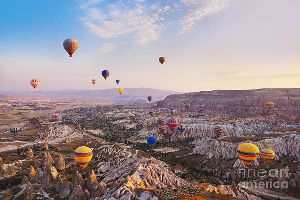Ballons Wall Art - Photograph - Hot Air Balloon Flying Over Rock by Tatiana Popova