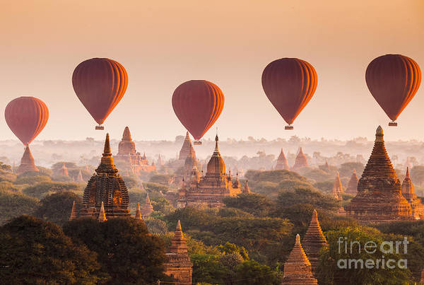 Myanmar Wall Art - Photograph - Hot Air Balloon Over Plain Of Bagan At by Lkunl