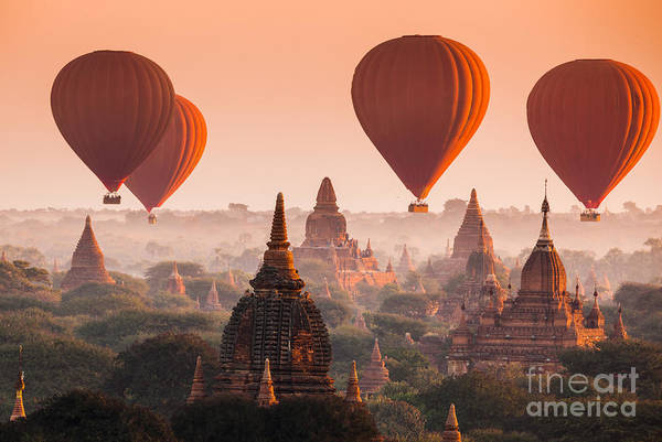 Myanmar Wall Art - Photograph - Hot Air Balloon Over Plain Of Bagan In by Lkunl