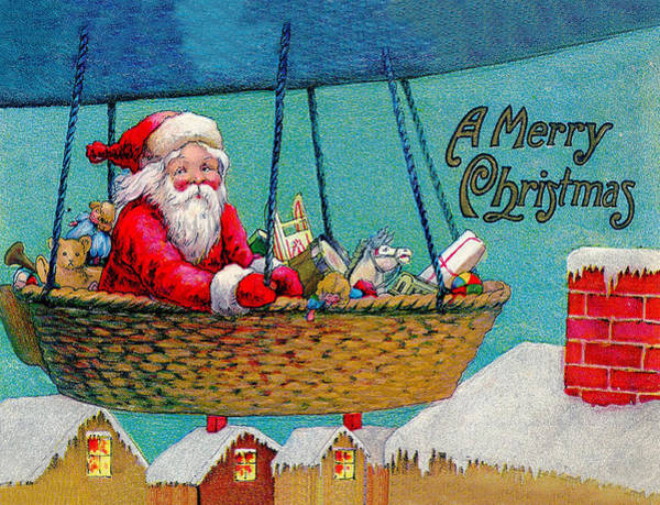 Hot Air Balloon Digital Art - Hot Air Balloon Santa by Long Shot