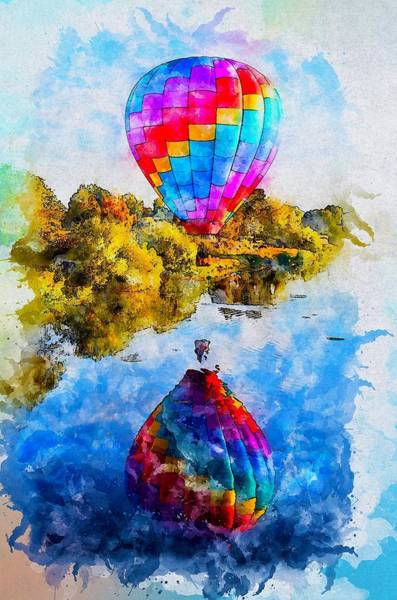 Wall Art - Painting - Hot Air Balloon Tour by ArtMarketJapan