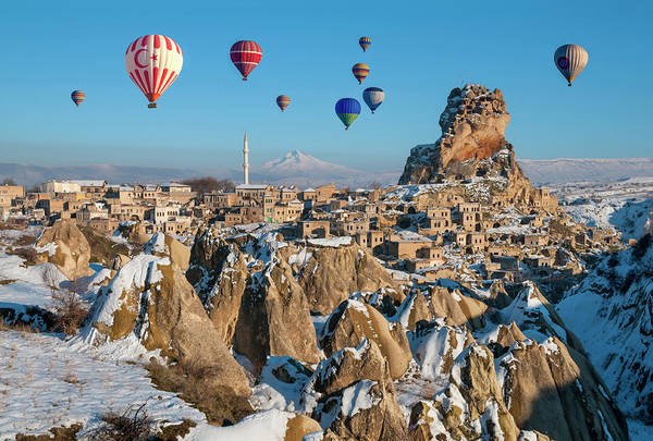 Nevsehir Photograph - Hot Air Ballooning Over Ortahisar In by Ayhan Altun