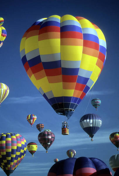 Photograph - Hot Air Balloons Against Blue Sky by Steve Estvanik