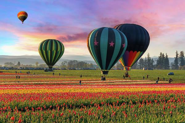 Dawn Photograph - Hot Air Balloons At Sunrise by David Gn Photography