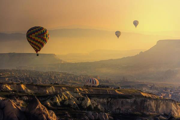 Cappadocia Photograph - Hot Air Balloons Over Cappadocia by Coolbiere Photograph