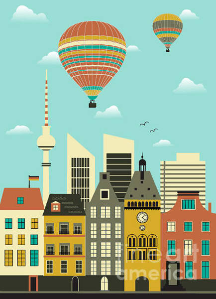 Wall Art - Digital Art - Hot Air Balloons Over The City.vector by Ladoga