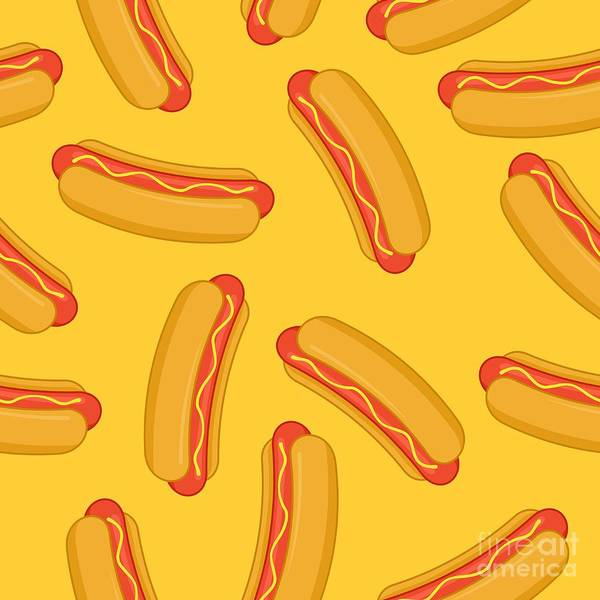Landmark Wall Art - Digital Art - Hot Dog In Flat Style Seamless Pattern by Vectorplotnikoff