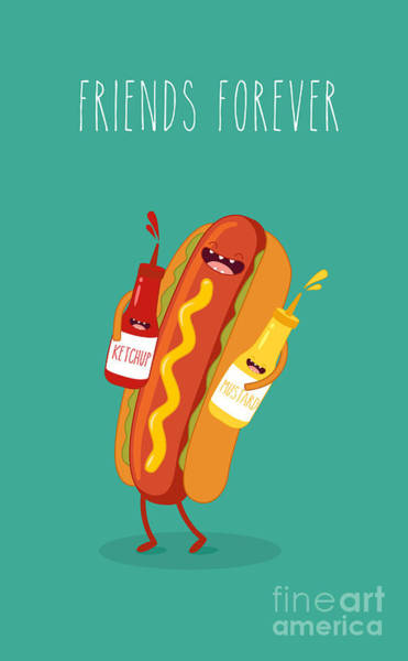 Bread Wall Art - Digital Art - Hot Dog, Mustard And Ketchup.vector by Serbinka