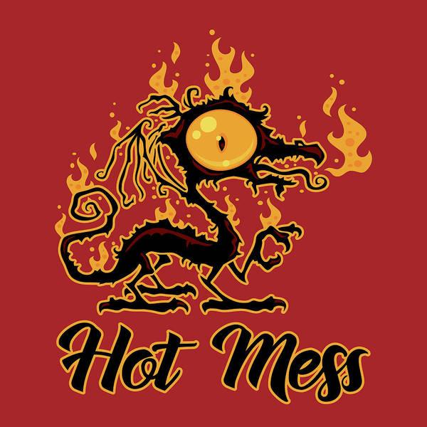 Burn Digital Art - Hot Mess Crispy Dragon by John Schwegel