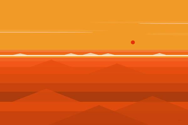 Digital Art - Hot Orange Ocean by Val Arie