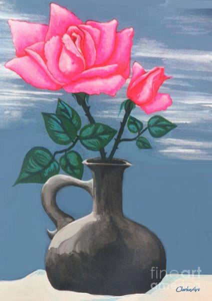 Painting - Hot Pink Roses by Jean Clarke