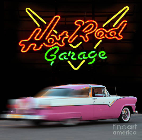 Neon Pink Photograph - Hot Rod Garage by Bob Christopher