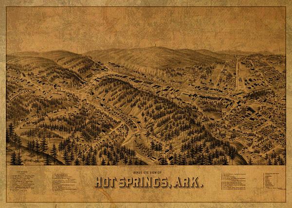 Arkansas Mixed Media - Hot Springs Arkansas Vintage City Street Map 1888 by Design Turnpike