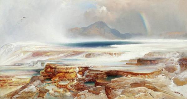 Wall Art - Painting - Hot Springs Of The Yellowstone, 1872 by Thomas Moran