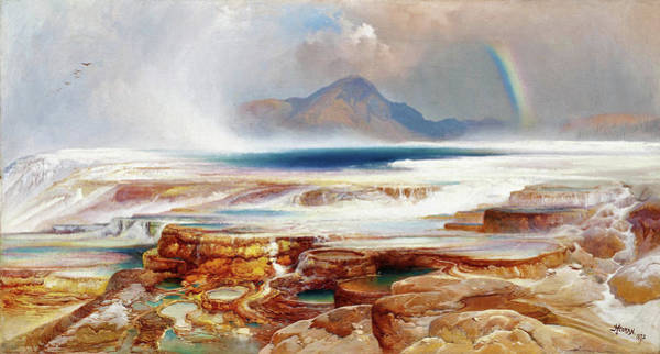 Wall Art - Painting - Hot Springs Of The Yellowstone - Digital Remastered Edition by Thomas Moran