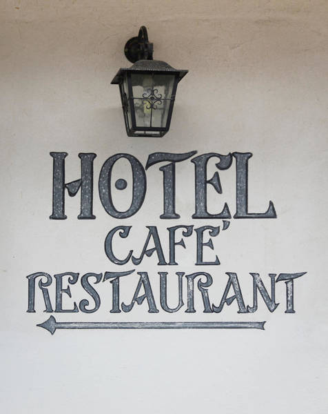 Wall Art - Photograph - Hotel Cafe Restaurant Painted Sign by Teresa Mucha