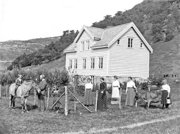 Wall Art - Painting - House And Family  Ca 1890 1910   Norway by Celestial Images