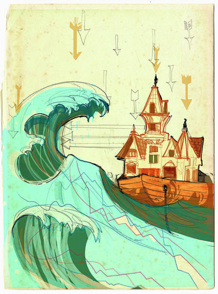 Anticipation Digital Art - House In Boat On Stormy Sea by Alex Green