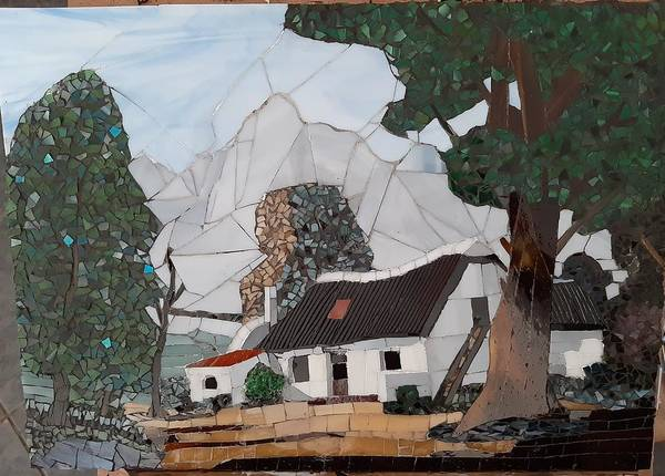 Wall Art - Glass Art - house in South Africa by Dalene Smit