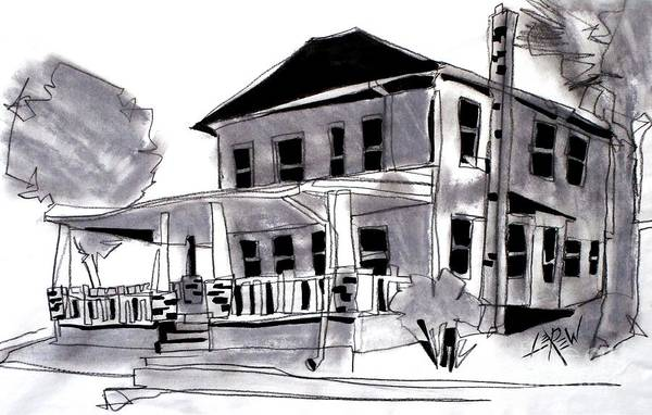 Front Porch Drawing - House Of Charcoal by Larry Lerew
