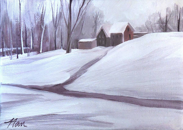 Digital Art - House On The Hill In Snow by Nancy Griswold