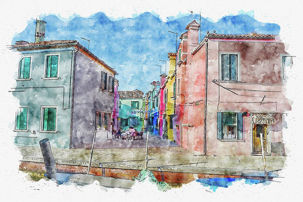 Wall Art - Digital Art - House #watercolor #sketch #house #italy by TintoDesigns