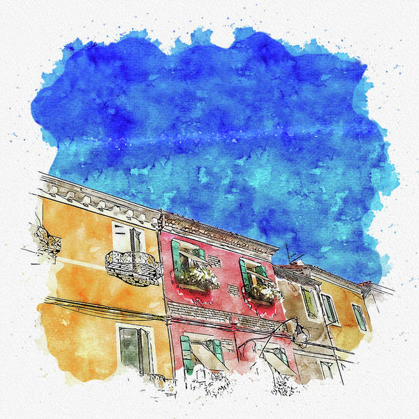 Historic House Digital Art - House #watercolor #sketch #house #old by TintoDesigns